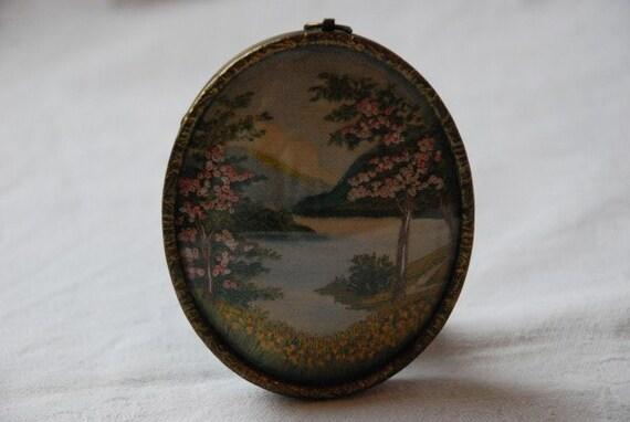 Vintage Miniature Scottish Loch Landscape Needlework Embroidery in Original Oval Frame 1930's