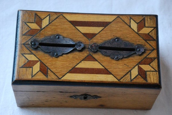 Vintage Art Deco Inlaid Marquetry Wooden Money Box Bank 1920's - Reserved For Lisa