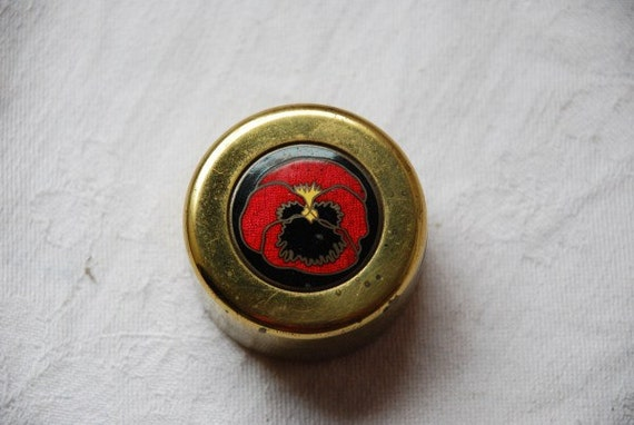 Vintage Enamel Poppy Flower and Brass Metal Trinket or Jewelry Box 1940's