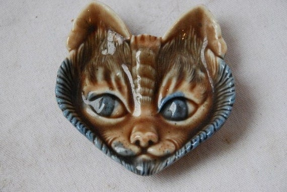 Wade Pottery Porcelain: Vintage Wade Porcelain Cat Face Pin Dish