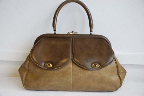 Vintage Two Tone Brown Vinyl Handbag Purse 1940's - 1950's