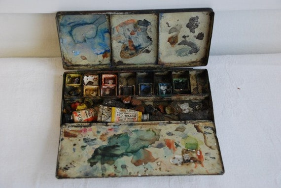 Antique Vintage Eyre and Spottiswoode of London Paint Box Painters Artist Pallette 1920's