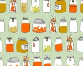 ORGANIC kitchen jars fabric LARGE PRINT  fat quarter