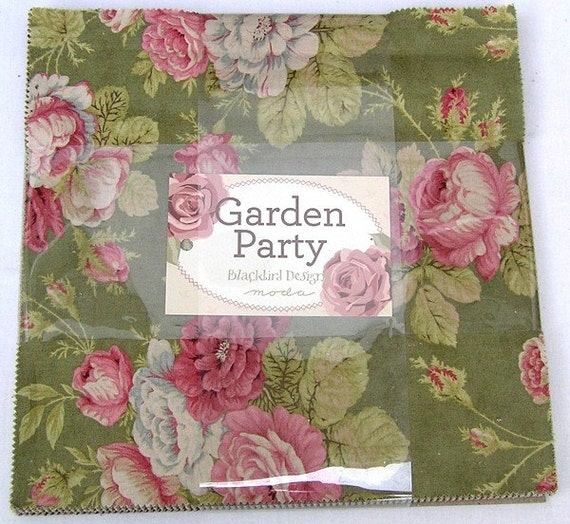 Moda garden party moda fabric layer cake for Garden party fabric by blackbird designs
