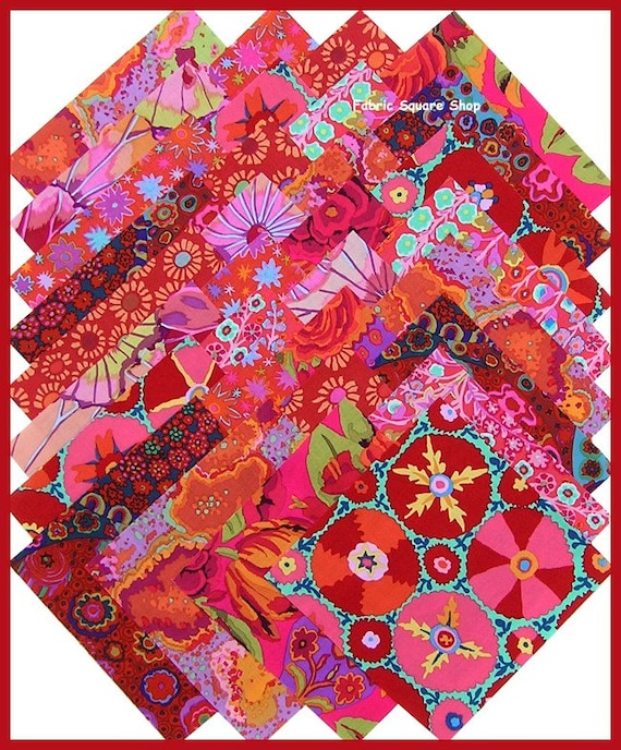 Kaffe Fassett Reds 6 5inch Fabric Squares Quilt Kit