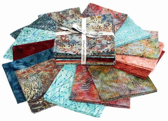 Hoffman ELDERBERRY Bali Batiks Fat Quarters 14 Fabric FQs