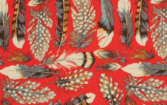 By the Yard Martha Negley FEATHERS Red PWMN056 Westminster Fibers Fabric