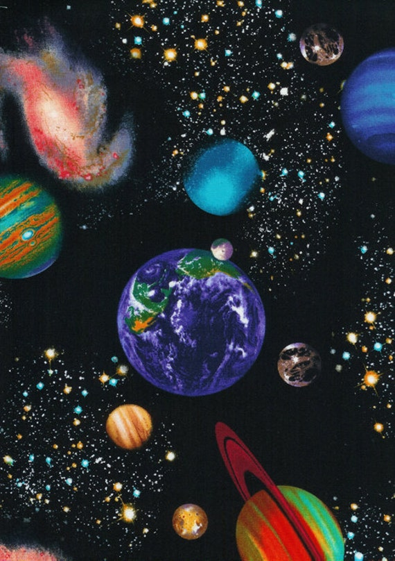 By the Yard Timeless Treasures SOLAR SYSTEM Black C8219 Fabric
