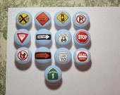 Hand painted road street signs (1) drawer pull knob stop yield railroad yield one way nursery construction