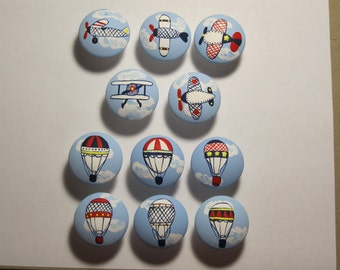 Airplanes Hot Air Balloons (1) drawer pull knob hand painted custom