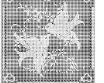 Love Birds Filet Crochet  doily mat afghan pattern  ITEM 444 digital download