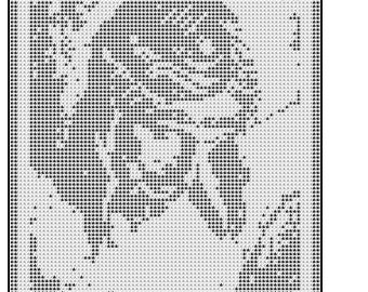 Jesus Christ Cross filet crochet doily mat wall hanging afghan pattern 533