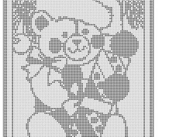 Christmas bear filet crochet doily afghan wall hanging table mat pattern 55