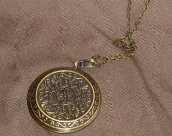 SOLID PERFUME LOCKET - Antique Style Brass Round - Many Fragrance Varieties