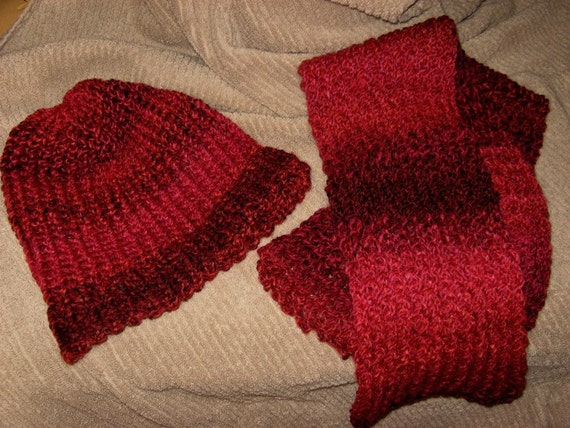 Loom Knit Hat And Scarf Set - Tweed Stripes Mixed Berries