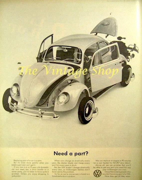 classic vw beetle parts 1960s large vintage advertising. Black Bedroom Furniture Sets. Home Design Ideas