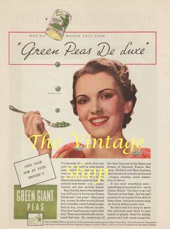 Early Green Giant 1930s Vintage Ad..Tender Peas