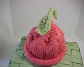 Knitted Pixie Hat Peach  4 sizes Available NB to 24 months sizes Photo Prop