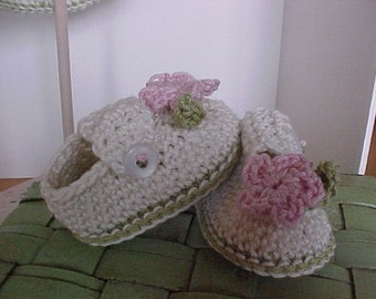 Wee Little Booties Cotton Crocheted NB to 12 month sizes Handmade