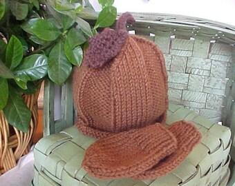 Acorn Hat & Mitten Set Knitted Newborn to 12 months sizes Photography Prop