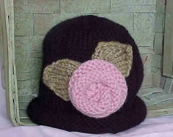 Knitted Hat Black with Pink knitted Rose Adorable Photography Prop, Newborn to 3 months, 3 to 6 months, 6 to 12 months