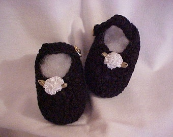 Mary Jane Booties Black with White Satin Rose NB to 3 months, 3 months to 6 months sizes
