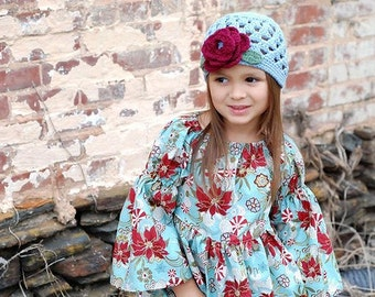 Crochet Hat Light Blue Open Weave with Four Layer Burgundy Flower