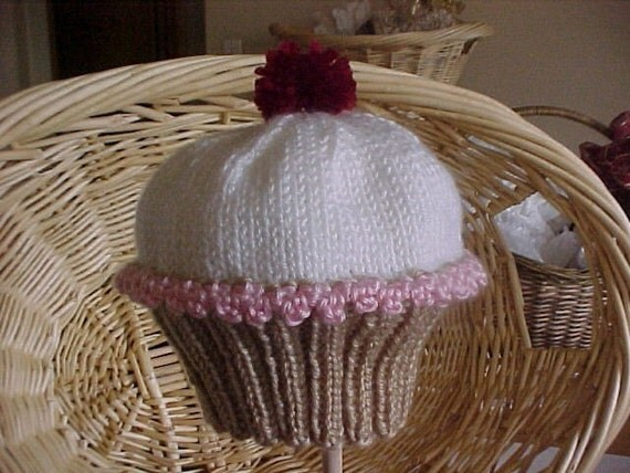 Oh My Little Cupcake Hat Handknitted NB to 4 yr sizes
