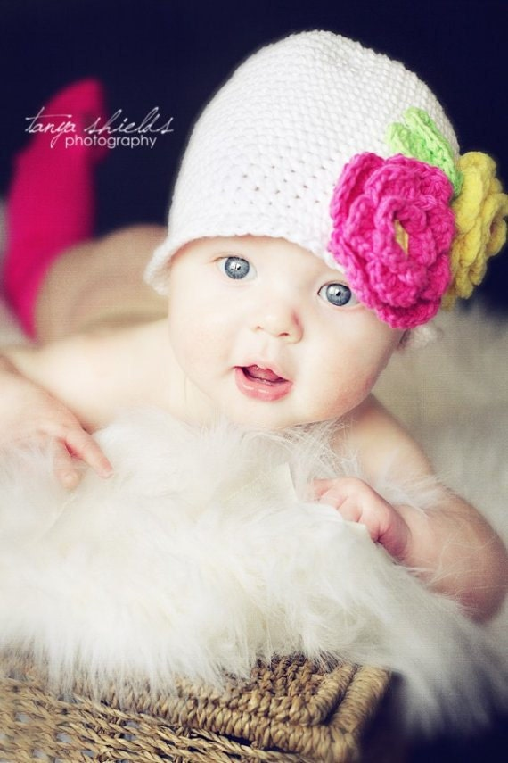 Crochet Cotton Hat White Classic Bucket Style with Fuschia and Yellow Flowers