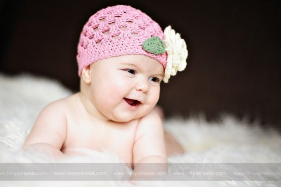 Lil Pink Crochet Hat with Four layer Flower