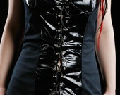 MASQ Hyperbola dark blue cotton and black PVC fabrics fitted corset top, black corset, shiny corset, laced corset S - M