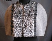 MASQ grey wool and fur leopard victorian and steampunk inspired capelet Ruffled wool details, evening cape Size L - XL