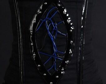Black Corset Steampunk biomechanical studs corset for 58cm waist, steampunk corset, black corset, cyberpunk corset Size S