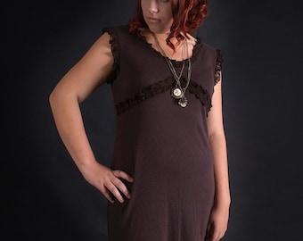 Brown lace dress, soft cotton ruffles steampunk dress with lace, lace dress, jersey dress, brown dress, plussize dress L to 2XL MASQ