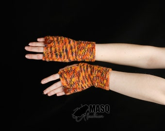 orange mittens, steampunk fingerless mittens, arm warmers, leather accent mittens, fingerless gloves, orange mitterns MASQ