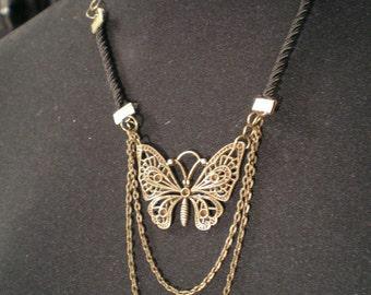 Steampunk necklace, bronze necklace, black necklace, steampunk necklace, bronze necklace, butterfly necklace MASQ