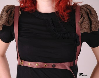 Lace cap sleeve harness,brown harness, steampunk harness, lace harness, sturdy harness, fetish harness, steampunk bodycage, MASQ