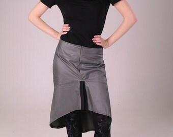 Silver gray skirt, matte fabric space skirt, asymmetric skirt, Cyber skirt, futuristic skirt, avantgarde fashion skirt, wetlook skirt MASQ