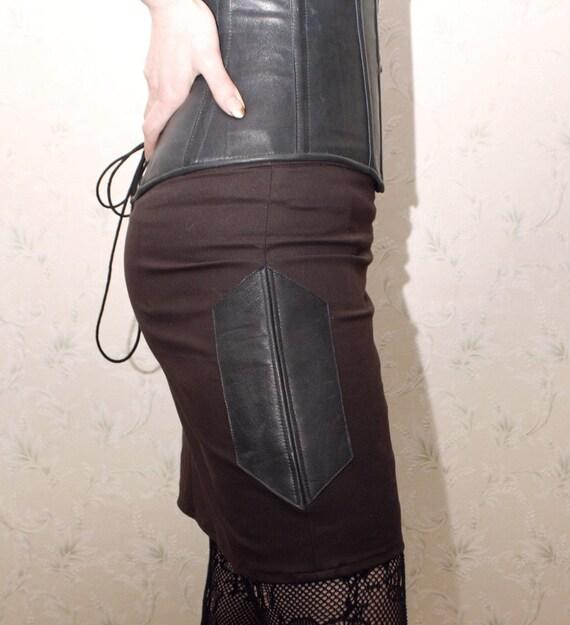 Brown steampunk skirt, leather skirt, leather panels skirt, Steampunk leather skirt, dieselpunk skirt, gothic skirt, mini skirt, MASQ
