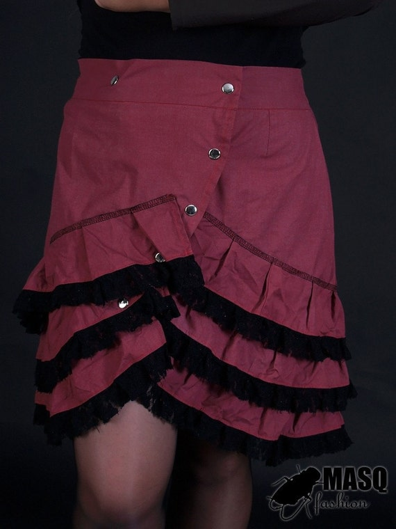 Sale MASQ Burgundy cabaret skirt with layers of ruffles and lace. Unique button up one of a kind fashion.  XL 2XL XXL plus size