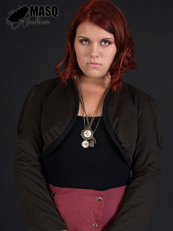 MASQ Brown steampunk era inspired bolero with black fabric and ruched details. Fall fashion. Plus size fashion. XL 2XL XXL plus size