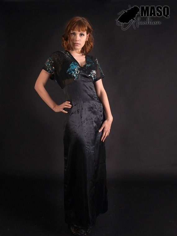 Sale MASQ Art Deco inspired long gown dress with japanese kimono style short sleeves, The Great Gatsby 1920s Size L XL