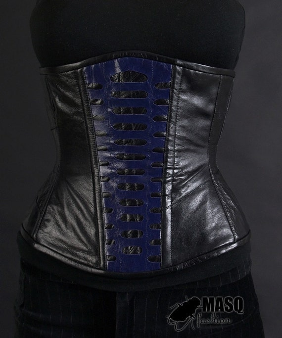 Black leather corset, black and violet leather dieselpunk corset, steampunk corset, alien corset, cyberpunk corset, giger inspired corset