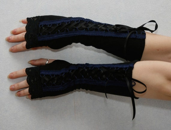 Sale MASQ Black and blue victorian laced arm warmers. One size long lolita steampunk goth gloves gauntlets