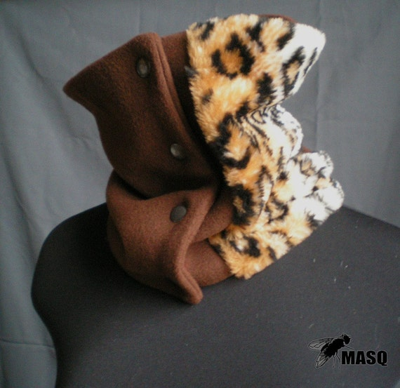 Brown scarf, wool tube scarf with snap button closure and leopard fur detail.  Fall winter scarf. One size, warm scarf, MASQ