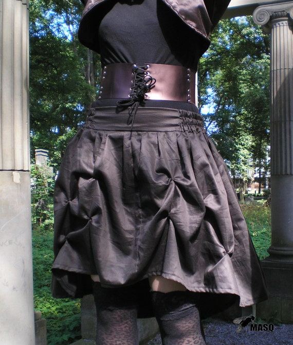 MASQ Steampunk cabaret brown draped asymmetrical skirt. Size M to XL