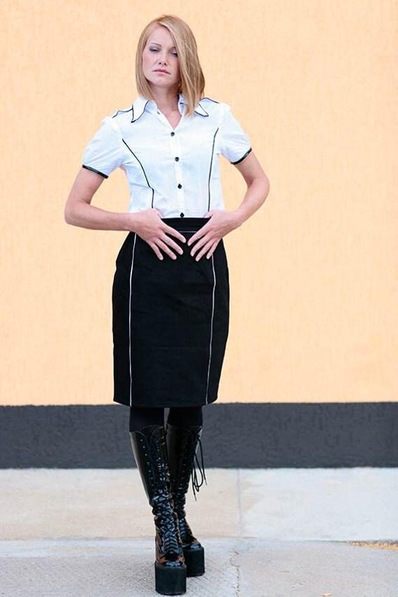 Pin up skirt in black with white piping, Fetish skirt, high waist skirt, black skirt, gothic skirt, military skirt, dominant skirt, MASQ