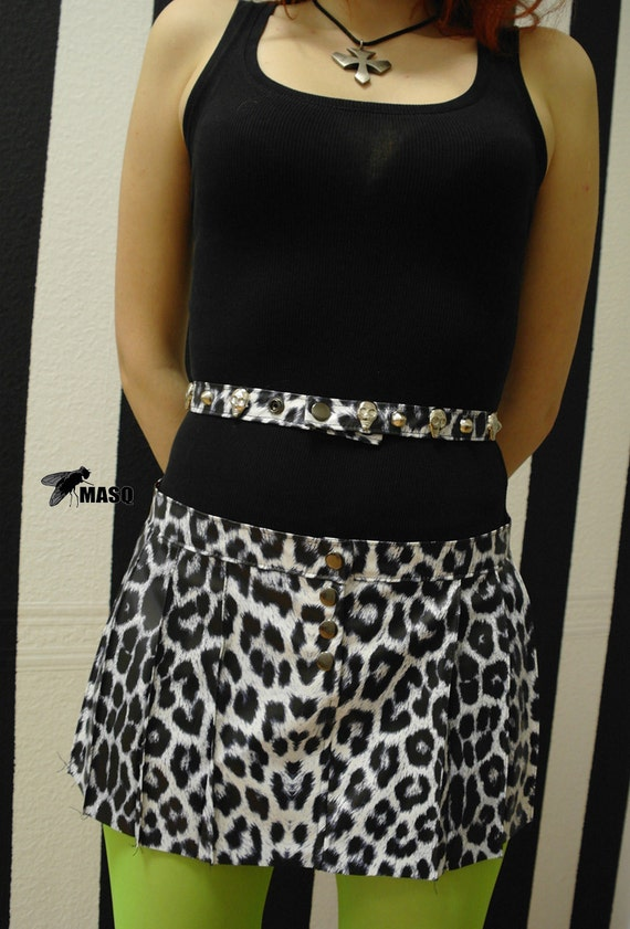 Black and white belt, leopard studs and spikes belt or wrist cuff, skull studs wrist cuff, leopard print belt, Skulls wristband, MASQ