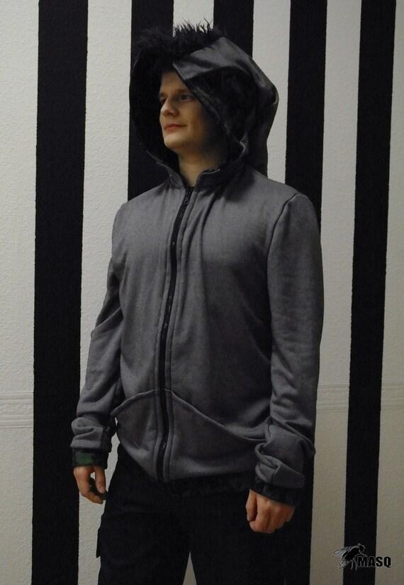 MASQ Menswear grey elf mohawk hoodie. Size M L mens hoodie, mens sweater, mens jumper