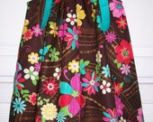 LAST.. Brown PRETTY FLORAL Aqua Pink Custom Boutique Pillowcase Dress.. sz 12-18m or smaller only
